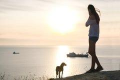 有狗的无法认出的女孩敬佩在一座山的日落与海景 侧视图 免版税库存图片