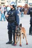 有狗的法国警察在马赛 免版税图库摄影