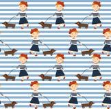 有狗的红头发人女孩达克斯猎犬和气球 样式女孩用不同的样式 库存图片