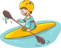 有独木舟的动画片男孩 免版税库存照片