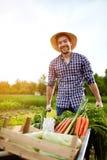 有独轮车的快乐的农夫在庭院里 免版税库存照片