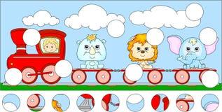 有狮子、大象和犀牛的滑稽的动画片火车 完成 免版税图库摄影