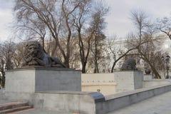 有狮子的喷泉在苏维埃正方形  图库摄影