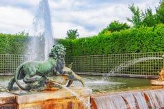 有狮子的喷泉在Versaill一个beautful和著名庭院里  免版税库存照片