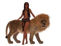 有狮子的密林公主 免版税库存照片