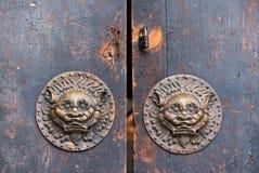 有狮子通道门环的老棕色中国传统木门 库存照片