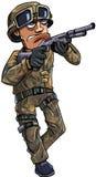 有猎枪的动画片战士 免版税图库摄影