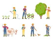 有猪和母牛传染媒介例证的农夫人 向量例证