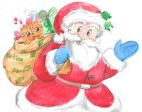 有猫的传统圣诞老人在大袋 免版税库存图片
