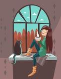 有猫的动画片女孩坐窗台 免版税库存图片