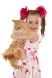 有猫的女孩 免版税库存图片