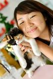 有猫的妇女 免版税图库摄影