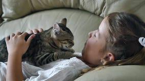 有猫的逗人喜爱的小女孩在沙发 股票录像