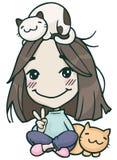 有猫的Hikikomori逗人喜爱的女孩 库存图片