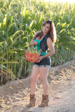 有玉米收获的美丽的妇女 免版税库存照片