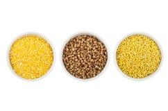 有玉米渣的,荞麦,在白色隔绝的小米碗 库存图片