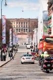 有王宫的卡尔Johans门在背景中 免版税库存照片