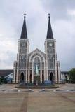 有玛丽雕象的天主教会在Chantaburi,泰国 免版税库存图片