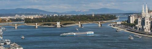 有玛格丽特海岛的多瑙河全景 免版税库存照片