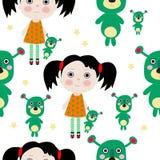 有玩具和星形的无缝的甜小的女孩 库存照片