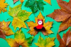 有玩具汽车和槭树叶子的葡萄酒闹钟 库存图片