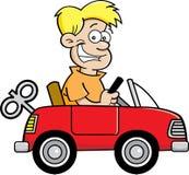 有玩具汽车的动画片男孩。 免版税库存图片
