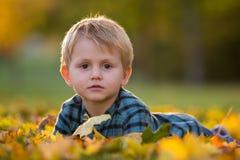 有玩具熊的可爱的小男孩在公园在一秋天天 免版税库存图片