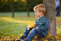 有玩具熊的可爱的小男孩在公园在一秋天天 免版税库存照片