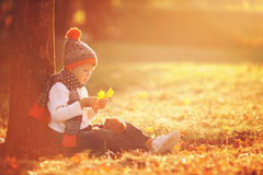 有玩具熊的可爱的小男孩在公园在秋天天 图库摄影