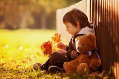 有玩具熊的可爱的小男孩在公园 库存照片