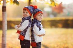 有玩具熊的可爱的弟弟在公园在秋天天 库存照片