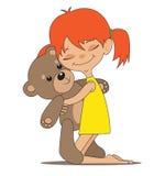 有玩具熊的小女孩 免版税库存照片