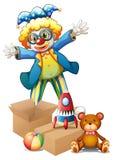 有玩具的一个小丑 免版税库存照片