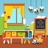 有玩具的学龄前幼儿园教室 免版税图库摄影