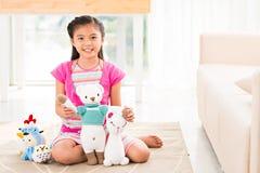 有玩具的孩子 免版税图库摄影