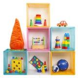 有玩具的箱子 库存照片