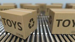 有玩具的纸盒箱子发短信给在辊筒运输机的移动 ??loopable 3D?? 影视素材