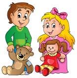 有玩具题材图象的1孩子 免版税库存照片