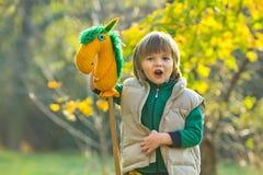 有玩具马的男孩 免版税库存照片