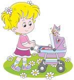 有玩具婴孩车的女孩 库存例证