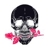 有玫瑰的人的头骨 免版税库存照片