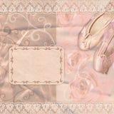 有玫瑰的古典桃红色芭蕾拖鞋 库存照片