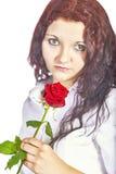 有玫瑰的女孩 免版税图库摄影