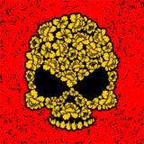 有玫瑰的头骨 在难看的东西样式的花头骨 黄色开花a 向量例证