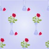 有玫瑰色传染媒介的无缝的纹理花瓶 库存照片