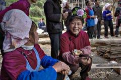 有玫瑰色发型的亚裔妇女微笑农村假日,中国 库存照片