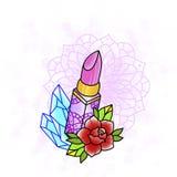 有玫瑰色和金刚石的唇膏 检查设计图象我的投资组合相似的纹身花刺 库存图片