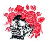 有玫瑰花圈的人的头骨 免版税库存照片