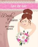 有玫瑰花束的新娘  免版税库存照片
