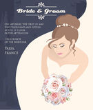 有玫瑰花束的新娘  库存照片
